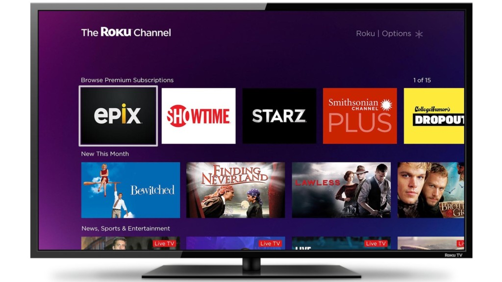 the roku channel home screen on tv