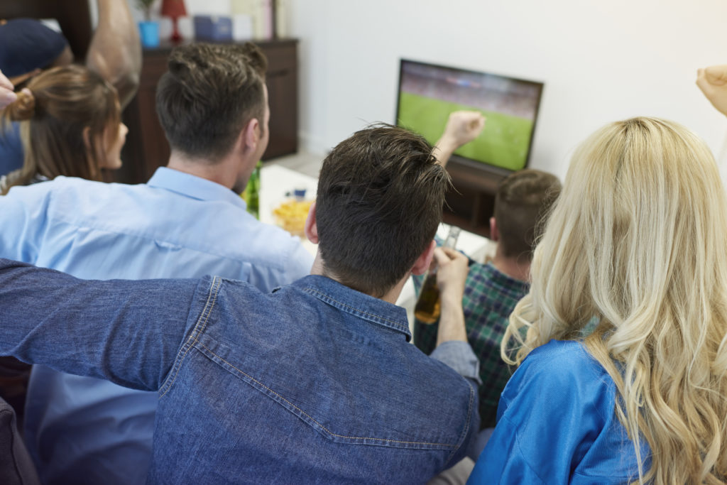 Soccer fans watching game