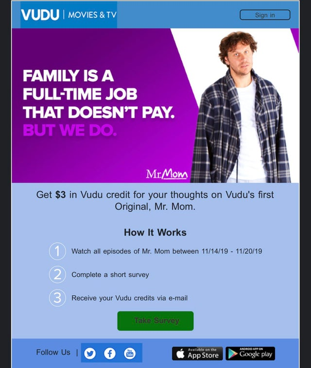 Vudu Survey offer