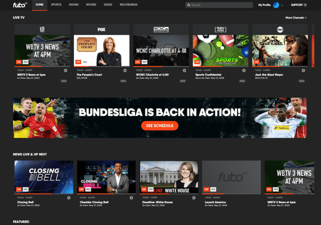 fubo tv home page