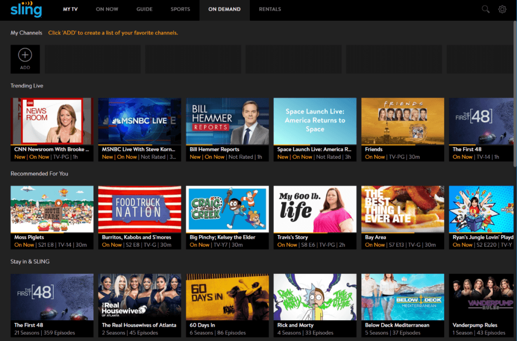 sling tv home page
