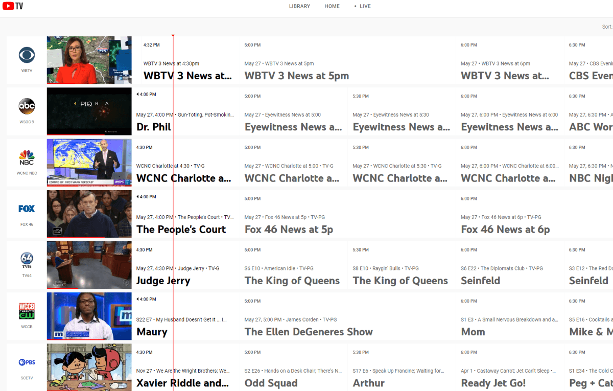 youtube tv channel guide
