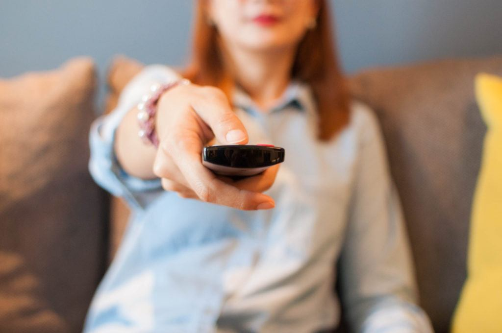 women with remote