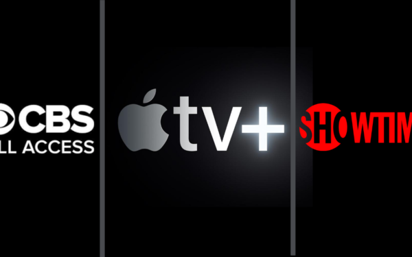logos for cbs apple tv and showtime