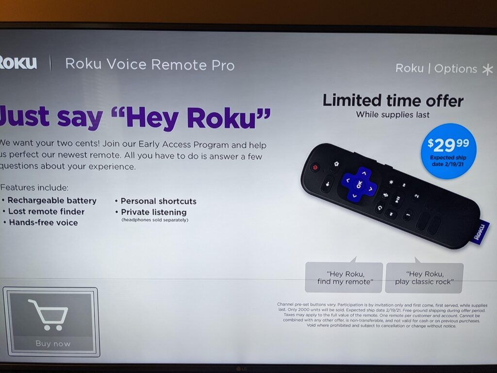 A screenshot of a Roku listing for a new remote control