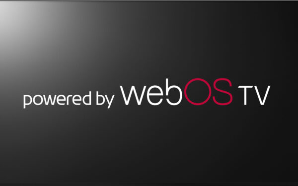 """A logo for LG's """"Powered by webOS TV"""" program"""