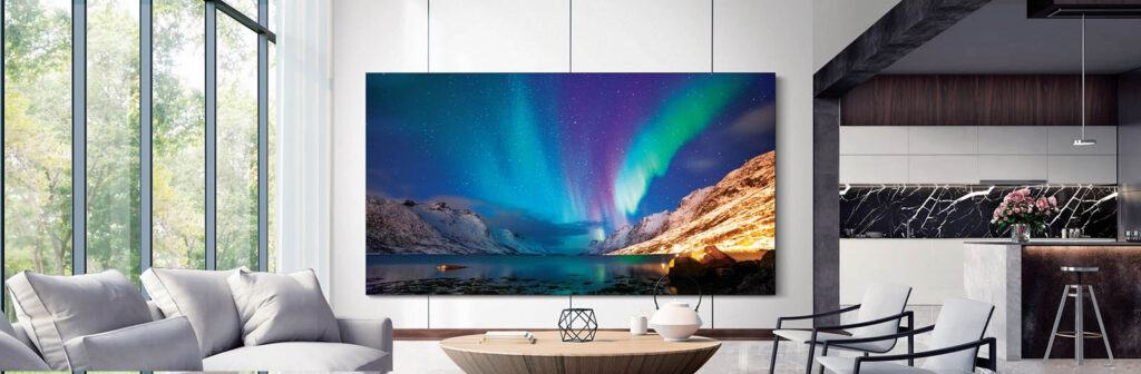 A photo from Samsung showing their large-size TVs