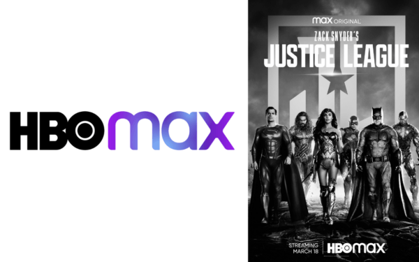 A collage of the HBO Max logo and a poster for the Justice League film