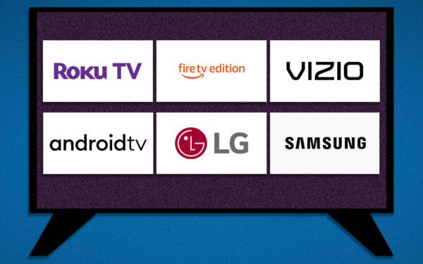 A graphic of a TV displaying serveral smart TV logos