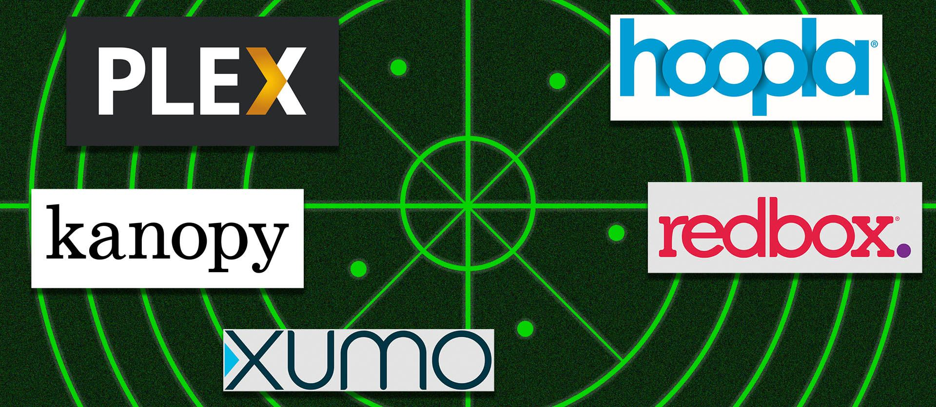 A graphic depicting five free streaming service logos