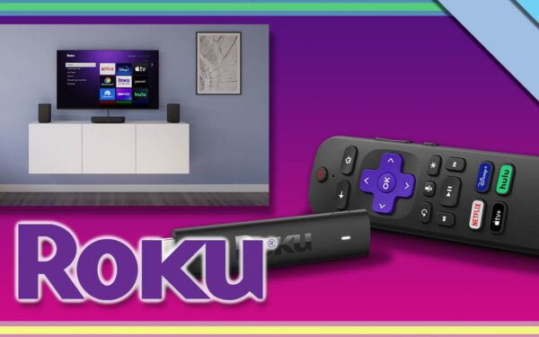 Collage of upcoming Roku products and the Roku logo